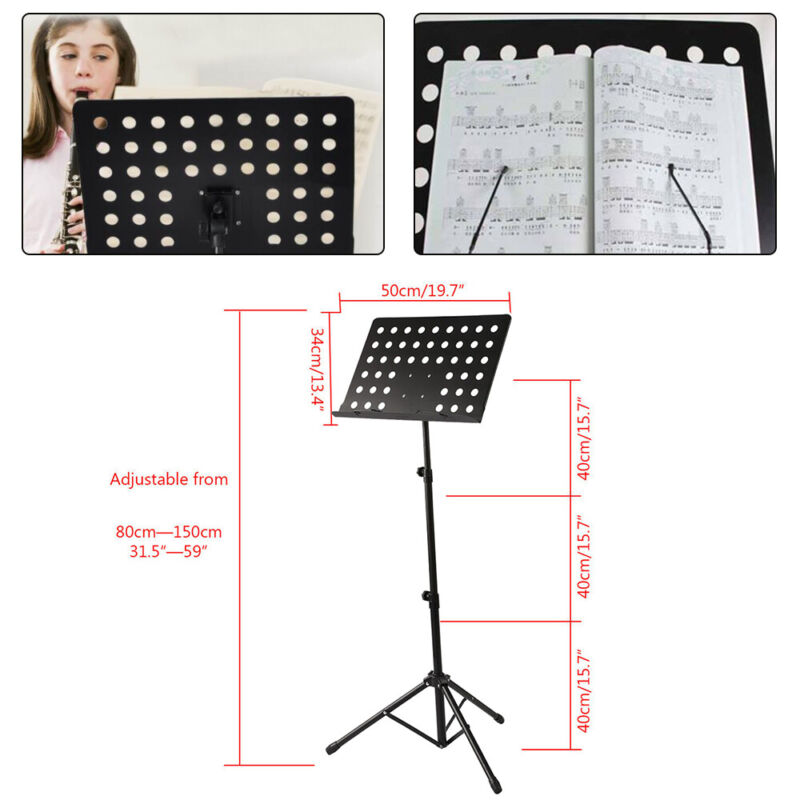 Foldable Music Stand/Holder/ Base Tripod Heavy Duty Orchestral Conductor Stand 3