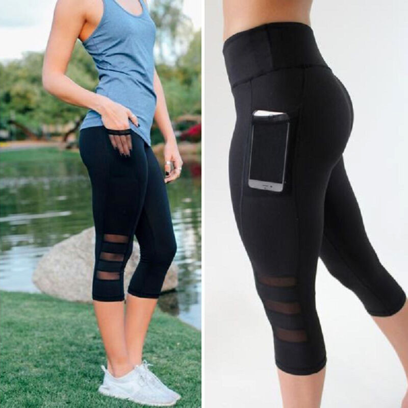 5ff3df6c96 Women Ombre Capri Cropped Leggings Yoga Pants for Gym Fitness Workout Wear  S M L 7 7 of 11 See More