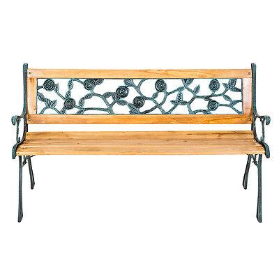 Banc mobilier meuble de jardin parc canapé terrasse en bois et fonte 124 cm neuf 4