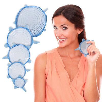 Stretch Reusable Silicone Bowl Wraps Food Saver Cover Seal Lids NSTA LIDS 6 PCS 6