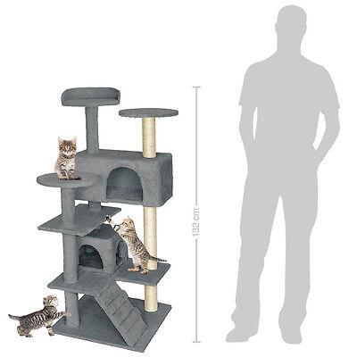 Arbre à chat griffoir grattoir avec 2 grottes geant 132cm gris 2