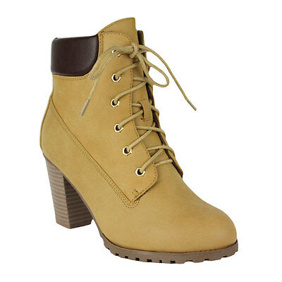 c0217b93da9 ... Women's Ankle Boots Lace Up Booties Chunky Stacked High Heel Rugged  Padded Shoes 11