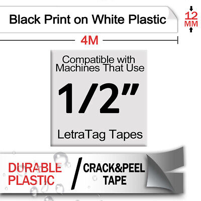 5 PK 91331 Compatible for DYMO Letratag Black on White Plastic 12mm Label Tape 3