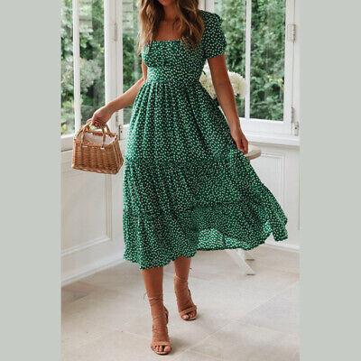 Women Vintage Floral Midi Dress Ladies Summer Beach Short Sleeve Casual Dress 6