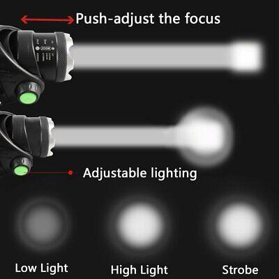 450000Lumen T6 LED Zoomable Headlamp USB Rechargeable 18650 Headlight Head Light 9