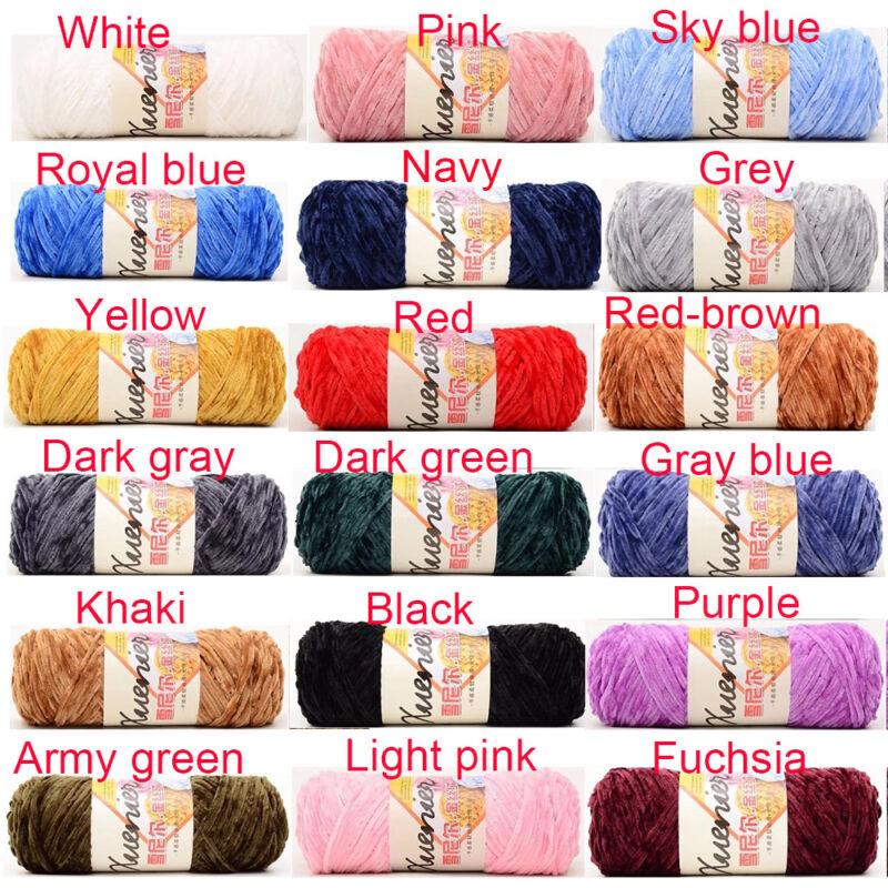 100g Chenille Wool Warm Velvet Thickness Yarn Soft Worsted Knitting Crochet Yarn 2