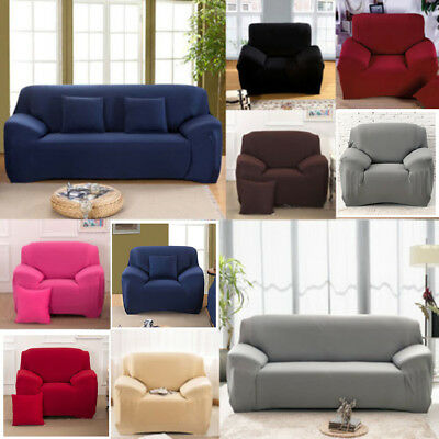 Solid Modern Stretch Chair Sofa Cover 1 2 3 4 Seater Couch Elastic Slipcover US 3
