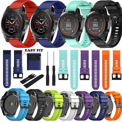 Silicone Quick Install Band Easy Fit Wrist Strap For Garmin Fenix 3 5 5X Plus 4