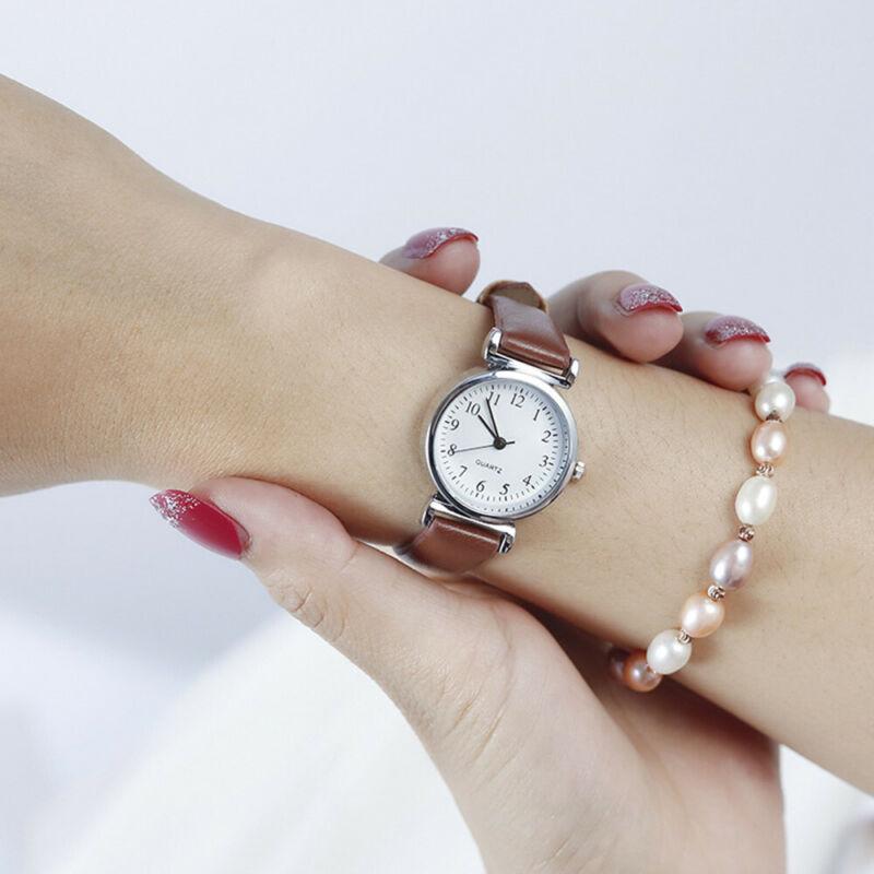 Women's Casual Quartz Leather Band Strap Watch Round Analog Wrist Watch Watches 12
