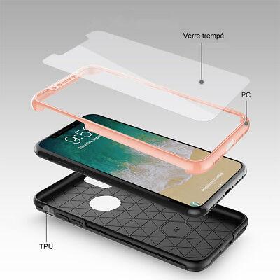 Coque Etui Intégrale 360° Protection iPhone 6/6S/Plus/7/8/X + Film Verre trempé 6