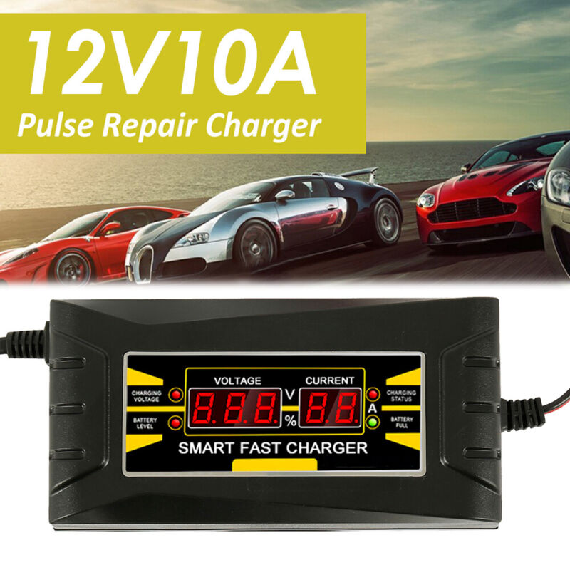12V 10A Automatic Intelligent Smart Car Battery Charger Lead Acid GEL LCD 2