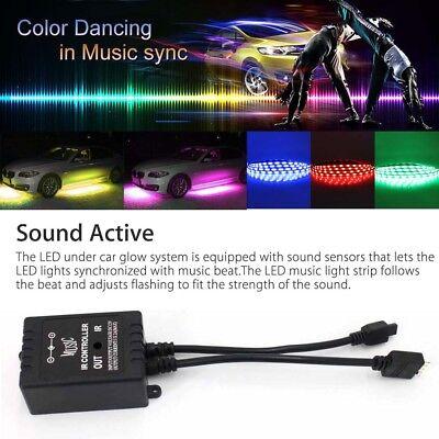 8 Color LED Strip Under Car Tube underglow Underbody System Neon Lights Kit 5