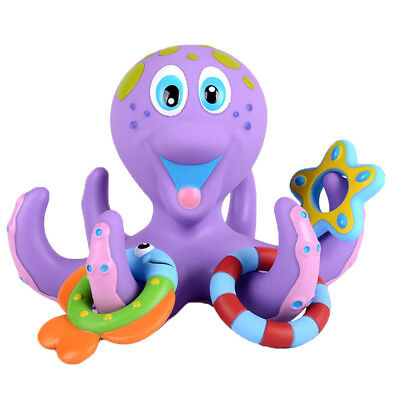 Bath Toy Baby Boy Girl Kids Floating Octopus Infant Toddlers Play +5 Ring Shower 2