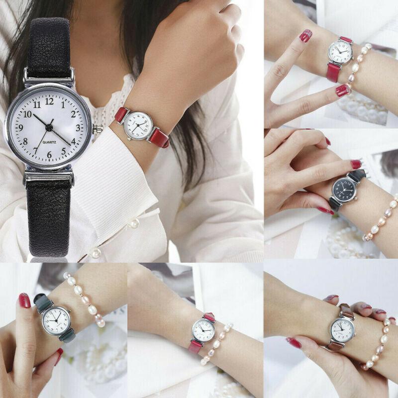 Women's Casual Quartz Leather Band Strap Watch Round Analog Wrist Watch Watches 2