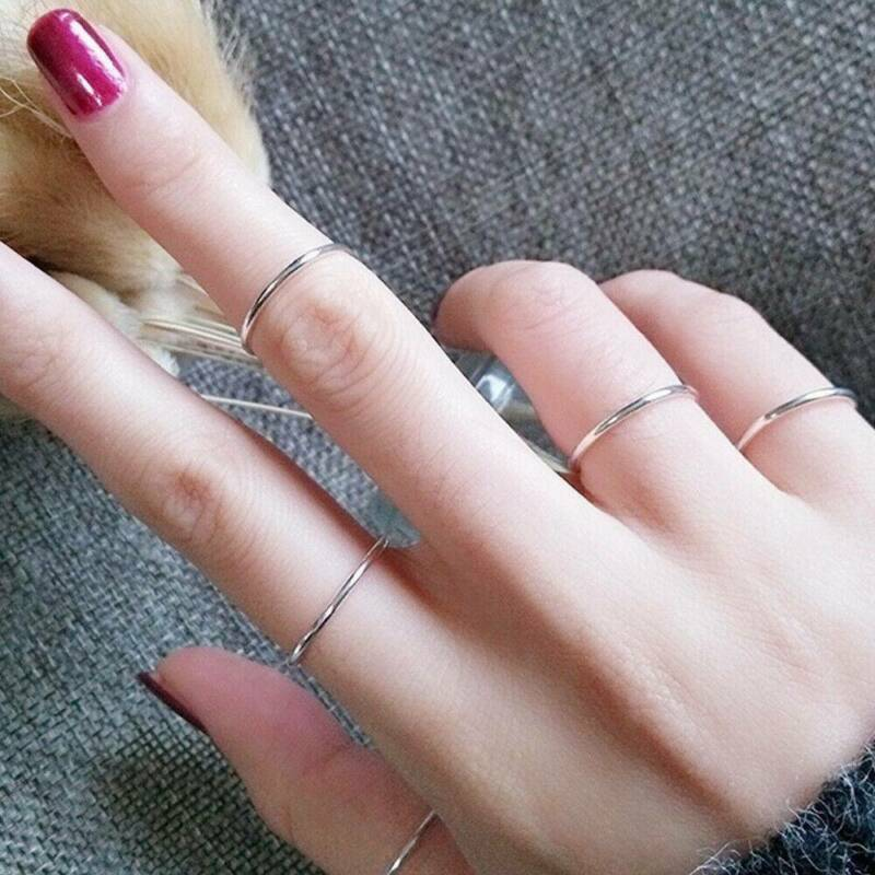 2mm Thin Stackable Ring Stainless Steel Plain Band for Women Girl Size 6-9 1PC 10