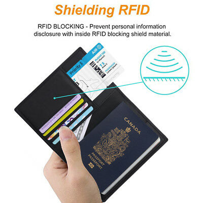 RFID Blocking Genuine Leather Passport Holder ID Case Credit Card Wallet Purse