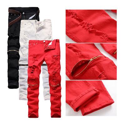Trendy Men Retro Stretchy Skinny Distressed Pants Knee Zipper Ripped Denim Jeans