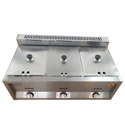 3 pan Gas Catering Food Warmer Steam Table Buffet Restaurant Gas Fryer 6Lx3 5