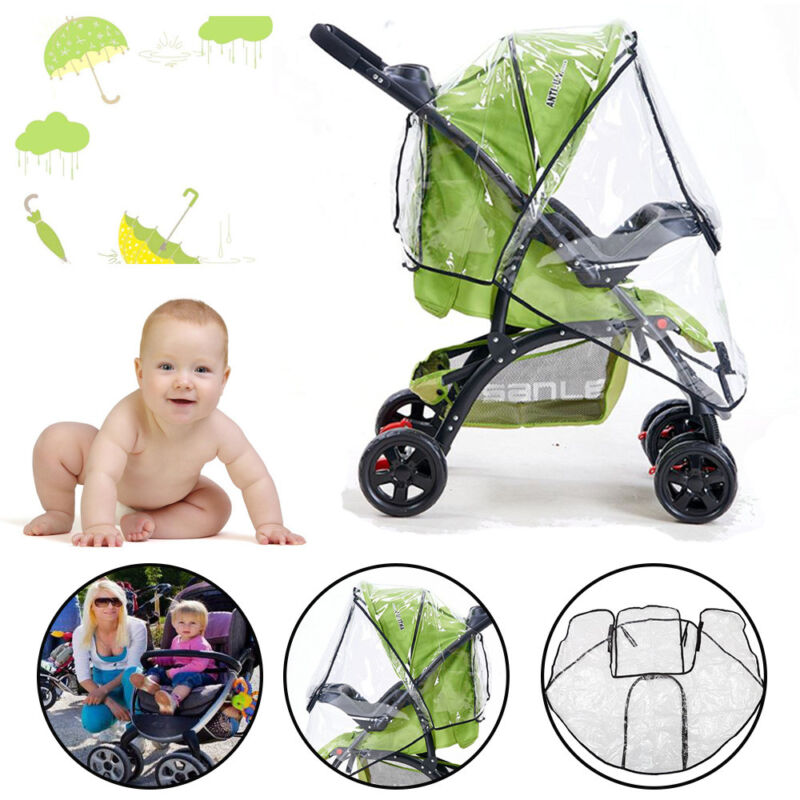 Universal Baby Pushchair Stroller Raincover Clear Rain Cover Pram Buggy w Window 7