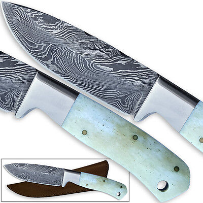 PATTERN WELDED DAMASCUS Steel Hunting Knife Camel Bone Handle Interesting Pattern Welded Steel