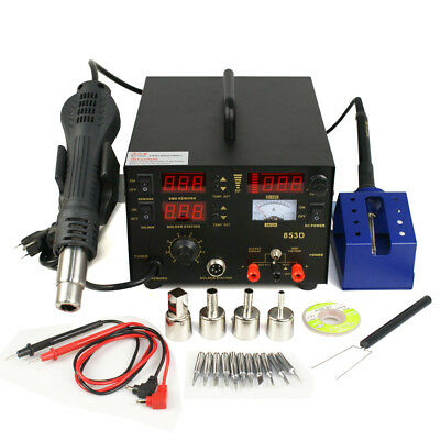3 in 1 853d SMD DC Power Supply Hot Air Iron Gun Rework Soldering Station 700W 3