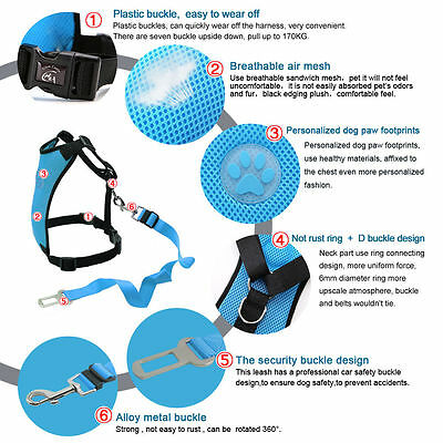Breathable Air Mesh Dog Car Harness for Small Large Dogs Travel Seat belt Clip 7