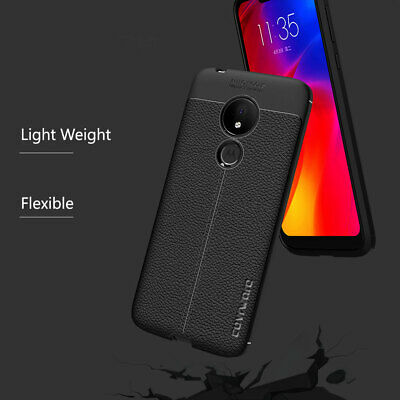 Moto G7 Power TPU Leather Case Cover Tempered Glass Screen Protector Slim Skin 8
