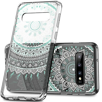 Galaxy S10 Plus S9 S8 Plus S7 Shockproof Slim Clear Case Mandala Henna Cover 5