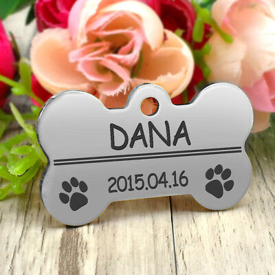 Glitter Paw Print Dog Tag Personalized Engraved Cat Pet ID Name Tag Bone Shape 10