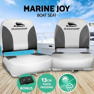 Set of 2 Folding Boat Seats Swivel Marine Seat Swivels All Weather Grey Seating 2