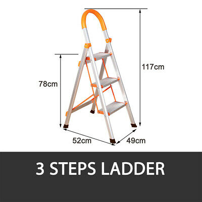 2 Or 3 Step Ladder Multi Purpose  Domestic Household Office Foldable Non Slip 9