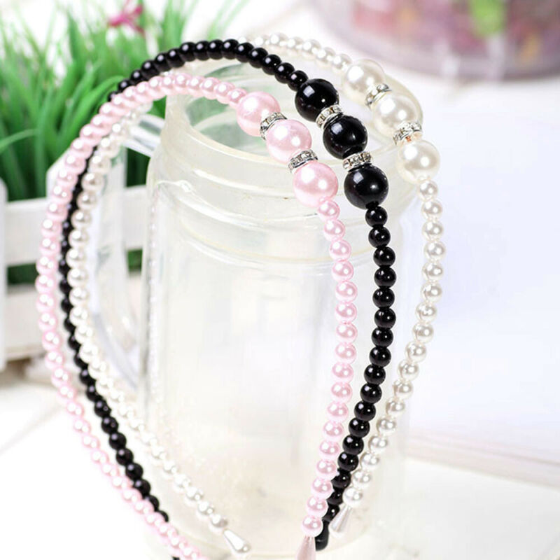 Women Rhinestone Hair Band Girls Kids Pearl Princess Women Headbands Hair Style 4