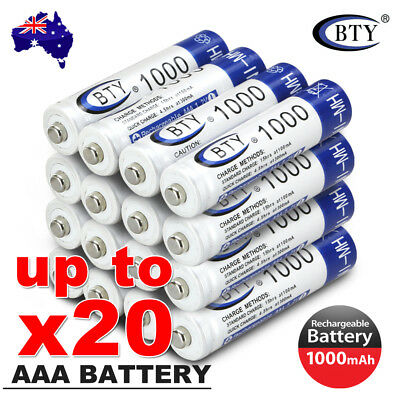 4-20X BTY AAA Rechargeable Battery Recharge Batteries 1.2V 1000mAh Ni-MH OZ 3