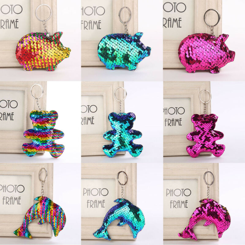 Pig Bear Butterfly Keychain Glitter Key Chain Gifts Car Bag Accessories Key Ring 8
