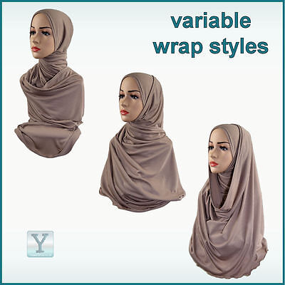 2536118d1dad 2 of 3 One Piece Hijab ✿ Ready Made Pull on Scarf Jersey Instant Pin free  Amira islamic