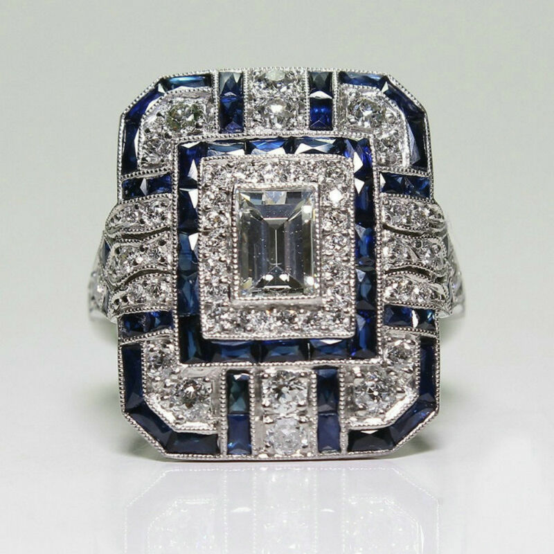 Antique Art Deco Large Jewelry Sterling Silver Blue Sapphire & Diamond Ring 3