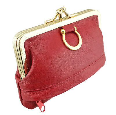 Women Genuine Leather Coin Purse Hasp Small Wallet Card Holder Bag 12*8.5*1.3cm 3