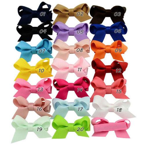 20PCS Baby Girls Hair Bows Boutique Alligator Clip Grosgrain Ribbon Hairpins LS 5