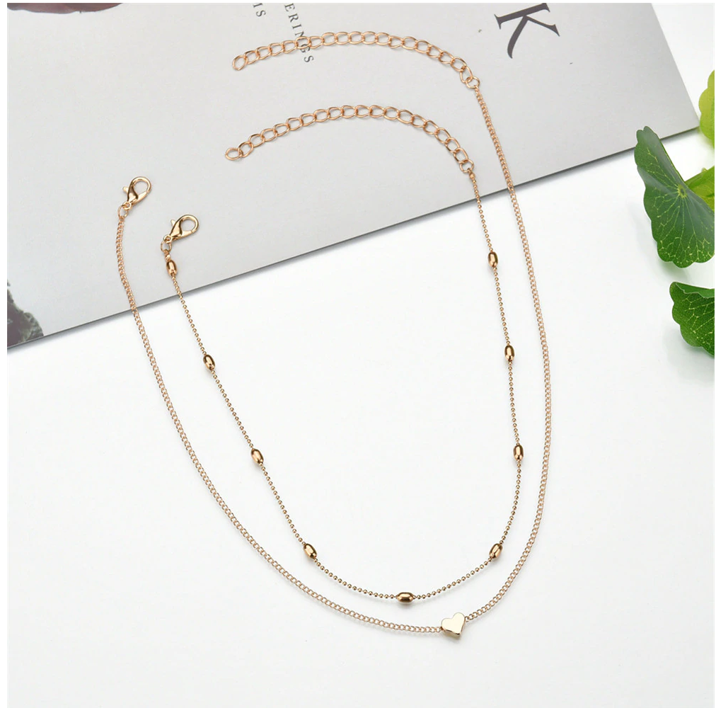 necklace double layer heart chain hot multilayer choker pendant  gold silver UK 8
