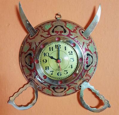 Antique Look Sword and Shield Design Wall Clock 3