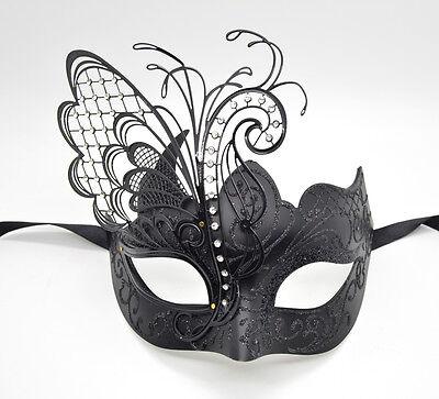 Couple Men Women Black Laser Cut Filigree Glitter Black Venetian Masquerade Mask
