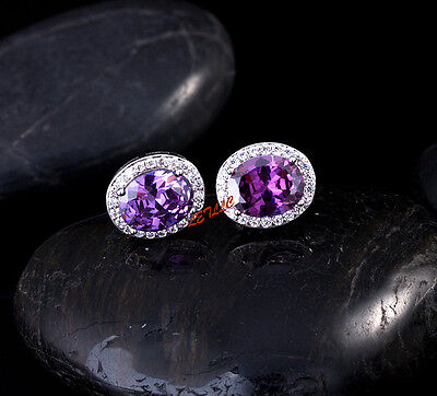 4ct CZ Stud Earrings OVAL Halo Simulated sapphire emerald amethyst ruby gift 8