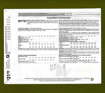 McCall/'s 7787 Sewing Pattern to MAKE Bikini /& Jumpsuit 4-12 or 12-20