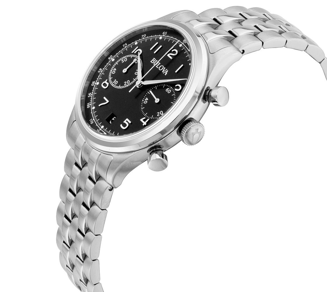Bulova Women's Quartz Chronograph Black Dial Silver-Tone 43mm Watch 96B234 2
