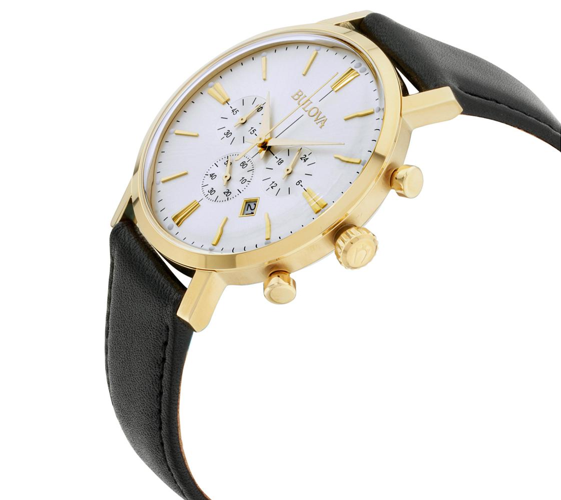 Bulova Classic Men's Quartz Chronograph Gold Tone Case 41mm Watch 97B155 2