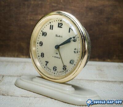Vintage Clock Slava Mid Century Ussr 11 Jewels Miniature Clock Film Prop 3