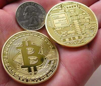 New 2018 Bitcoin Physical Collectible Coin BTC Gold Plated 1 Ounce 40mm UK STOCK 2