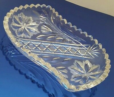 Vtg Antique Cut Crystal Etched Glass Retro Holiday Candy Nut Nappy Serving Dish 2