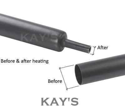 Black Heat Shrink Tube Electrical Sleeving Car Cable/Wire Heatshrink Tubing Wrap 2