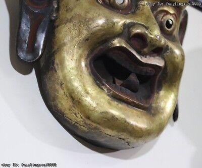 Nepal Monastery Old Red Copper Gold Gilt Jambhala Mahakala Buddha God Head Mask 9